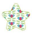 pattern shape star with flowers spring decoration vector image
