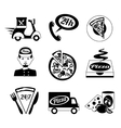 Pizza icons set black and white vector image