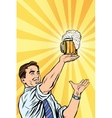 Retro man and mug of beer vector image vector image