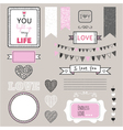 Romantic graphic set borders hearts frames vector image vector image