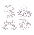 sea fishes and animals collection vector image vector image