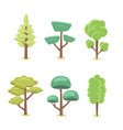 set of cartoon abstract stylized trees natural vector image