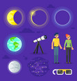 set of solar eclipse elements vector image
