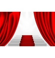 silk curtain and the stairs to the podium vector image