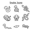 snake icon set in thin line style vector image