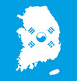 south korea map with flag icon white vector image