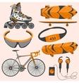 Sports equipment rollerblades skate bike vector image vector image