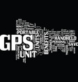 the benefits of gps units text background word vector image vector image