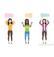 three modern multiracial women communicate dialog vector image