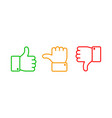 thumbs up set green like red dislike and yellow vector image vector image