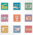 Video and photo vintage color flat icons vector image vector image