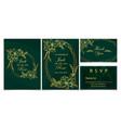 wedding invitation set golden floral and frame vector image vector image