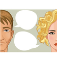 Woman and man with speech bubble vector image