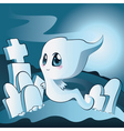 Cute ghost on cemetery vector image