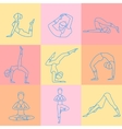 Set of Sport Excercises Line Style Icons vector image