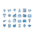 02 blue business icons set vector image