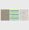 3 hand drawn irregular striped patterns vector image