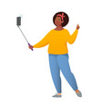 african american girl takes a selfie cool happy vector image