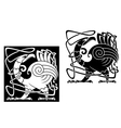 Angry bird in celtic style vector image vector image