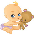 baboy playing with teddy bear vector image