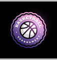 basketball league logo with ball purple and white vector image vector image
