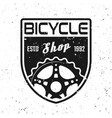 bicycle shop shield emblem badge label vector image vector image