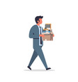 busy businessman carrying paper box stack of vector image