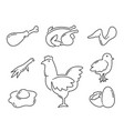 chicken product food line icons set vector image