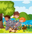 children with wild animals vector image vector image