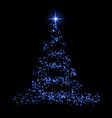 christmas tree 3d card background blue christmas vector image vector image