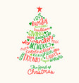 christmas tree handwritten greeting card vector image