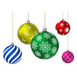 colored christmas balls with different patterns vector image vector image