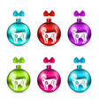 colorful glass christmas balls with dogs group vector image vector image
