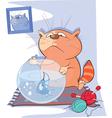 Cute Cat and Fish Aquarium Cartoon vector image