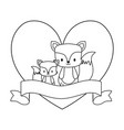 cute foxes in frame with heart shape and ribbon vector image vector image