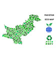 eco green collage pakistan map vector image vector image