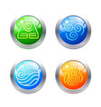 four elements symbols and alternative energy icons vector image vector image