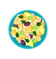 fruit salad made of banana pineapple plum green vector image