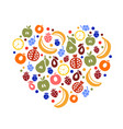 fruity heart art creative love vector image vector image