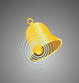 Golden bell with circular sound waves vector image vector image