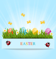 Greeting card with Easter colorful eggs and vector image