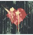 grunge heart wooden texture vector image