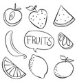 hand draw fruit various doodles vector image vector image