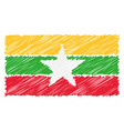 hand drawn national flag of myanmar isolated on a vector image vector image