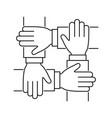 hands together line icon teamwork sign on white vector image