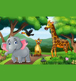 happy animal walking along forest vector image vector image