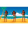 hawaiian dancing girls vector image