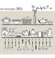 Kitchen utensils on shelves 5 vector image