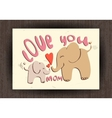 love you mom greetings card with animals mothers vector image