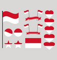 monaco flag set collection of symbols heart vector image
